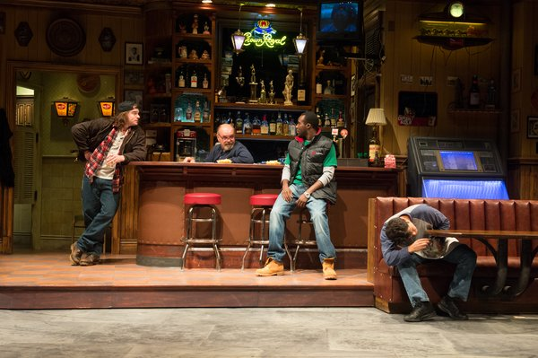 Stephen Michael Spencer, Jack Willis, Tramell Tillman, and Carlo Albán as Jason, Stan, Chris, and Oscar in the 2015 OSF production of Sweat.