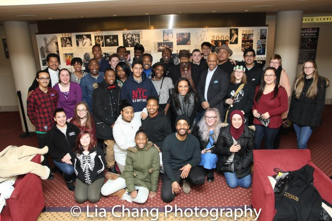 Folks from JITNEY director Ruben Santiago-Hudson's hometown of Lackawanna, NY, including students from the Ruben Santiago-Hudson Fine Arts Learning Center, took an 8 hour bus ride to see the Sunday matinee at the Samuel J. Friedman Theatre on January 15, 2017, and visited with the cast after the show. Global Concepts Charter School runs the school. Photo by Lia Chang
