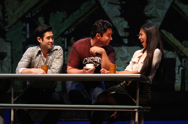 Raymond Lee, Jon Hoche and Maureen Sebastian, in South Coast Repertory's 2015 world premiere of Vietgone by Qui Nguyen. Photo by Debora Robinson/SCR.