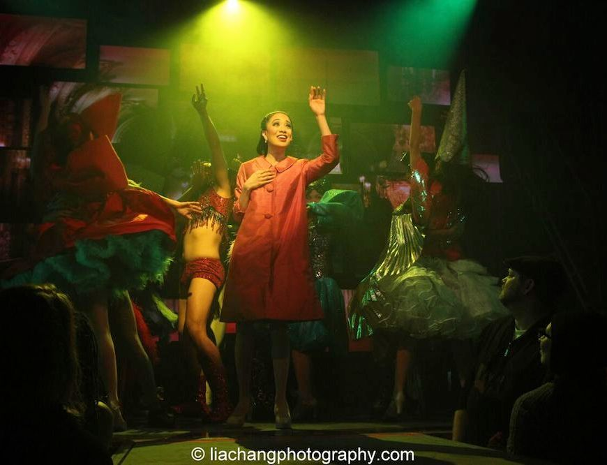 Jaygee Macapugay as Imelda in the Off- Broadway production of HERE LIES LOVE at The Public. Photo by Lia Chang