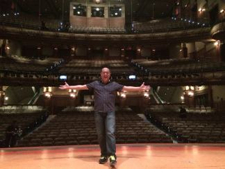 Alan Muraoka on The New Amsterdam Theatre stage where he recently starred as Iago in Aladdin on October 30, 2016. Photo by Lia Chang