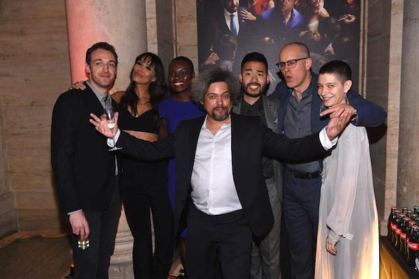 Dan Soder, Ilfenesh Hadera, Shaunette Renee Wilson, Daniel K. Isaac, Kelly AuCoin, Asia Kate Dillon and Malachi Weir (front) at the Showtime and elit Vodka hosted BILLIONS Season 2 premiere and party, held at Cipriani's in New York City on February 13, 2017. - Photo: Dave Kotinsky/SHOWTIME