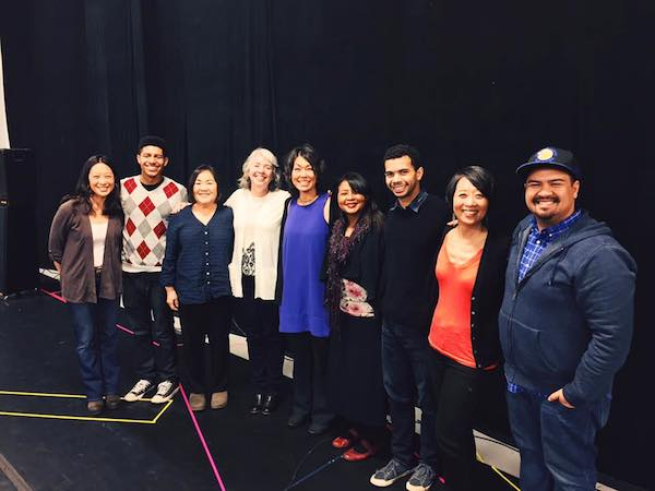 From left to right: CALlIGRAPHY's Elizabeth Pan, Davied Douglas Morales, Emily Kuroda, director Leslie Martinson, Mia Tagano, author Velina Hasu Houston, William Thomas Hodgson, Jeanne Sakata, and assistant director Jeffrey Lo at Theatreworks Rehearsal Studio. (Facebook)