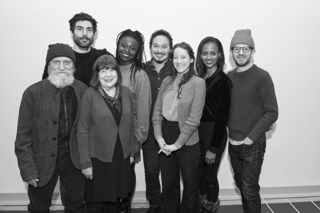 The cast of Branden Jacobs-Jenkins' EVERYBODY features David Patrick Kelly, Louis Cancelmi, Marylouise Burke, Jocelyn Bioh, Michael Braun, Brooke Burke, Lakisha Michelle May and Chris Perfetti. Photo by Ahron R. Foster