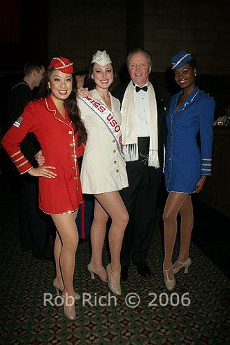 Jaygee Macapugay with her sister Libery Belles and John Voight, performing for the USO.