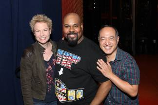 Jennifer Barnhart, James Monroe Iglehart and Alan Muraoka backstage at The New Amsterdam Theatre in New York on October 30, 2016. Photo by Lia Chang