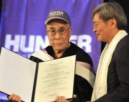 Peter Kwong, a professor of Asian American studies at Hunter College and DCTV Board member presented His Holiness, the 14th Dalai Lama, with an Honorary Doctorate of Humane Letters on October 19, 2012. Photo: Sonam Zoksang