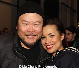 Stafford Arima and Lea Salonga on the Longacre Theatre after a performance of ALLEGIANCE in New York on February 13, 2016. Photo by Lia Chang