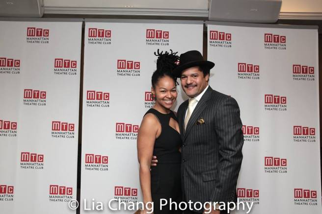 Crystal A. Dickinson and Brandon J. Dirden at the opening night party of JITNEY at the Copacabana on January 19, 2017. Photo by Lia Chang