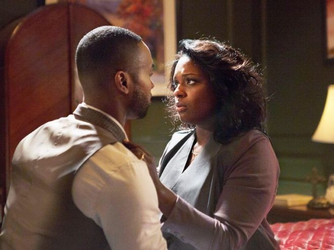 Charity Greenleaf Satterlee (Deborah Joy Winans) has yet to accept the fact that her husband Kevin (Tye White) is gay. (Facebook/Greenleaf OWN)