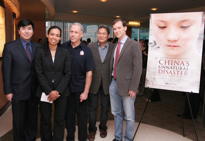 (L-R) Professor Ming Xia, Jacqueline Glover, supervising producer, HBO Documentary Films, co-director Jon Alpert, Professor Peter Kwong and co- director Matthew O'Neill, the production team of China's Unnatural Disaster: The Tears of Sichuan Province at the screen at HBO in New York on May 5, 2009. Photo by Lia Chang