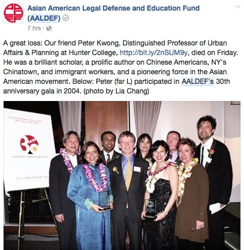 Peter Kwong, Mira Nair, Sree Sreenivasan, a guest, Margaret Fung, Alice Young, a guest, Jessica Hagedorn and David Henry Hwang at AALDEF's 30th Anniversary Gala at PIER SIXTY, Chelsea Piers in New York on March 25, 2004. Photo by Lia Chang