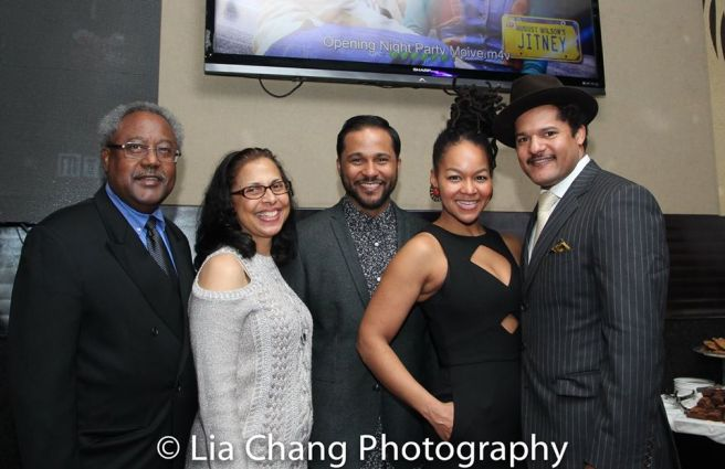 Willie Dirden, Debbie Dirden, Jason Dirden, Crystal Dickinson and Brandon J. Dirden at the opening night party of JITNEY at the Copacabana on January 19, 2017. Photo by Lia Chang