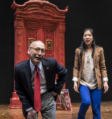 Francis Jue (Larry) and Stephenie Soohyun Park (Lauren) in the world premiere of King of the Yees, written by Lauren Yee and directed by Joshua Kahan Brody. Photo by Liz Lauren
