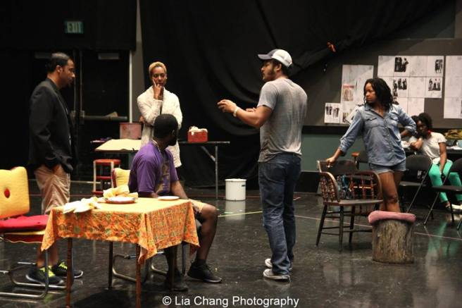 Jason Dirden, Charlie Hudson III, Christina Acosta Robinson, director Brandon J. Dirden, Crystal Dickinson and Brittany Bellizeare in rehearsal for Two River Theater's production of August Wilson's SEVEN GUITARS. Photo by Lia Chang