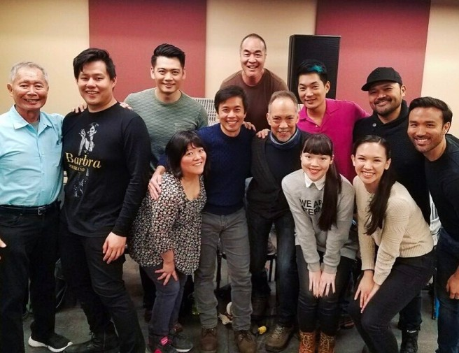 George Takei, Kelvin Moon Loh, Karl Josef Co, Ann Harada, Steven Eng, Marc Oka, Thom Sesma, Austin Ku, Megan Masako Haley Holmes, Kimberly Immanuel, Orville Mendoza and Marc de la Cruz at the sitzprobe at Carroll Music in New York on March 31, 2017. Photo: Karl Josef Co/Facebook