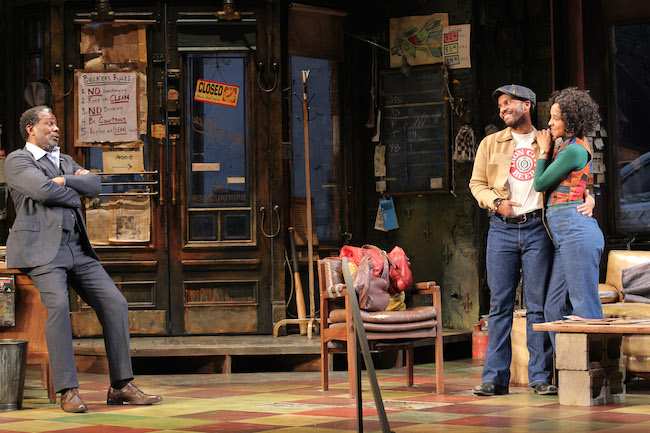 John Douglas Thompson, André Holland and Cara Patterson in JITNEY. Photo by Lia Chang