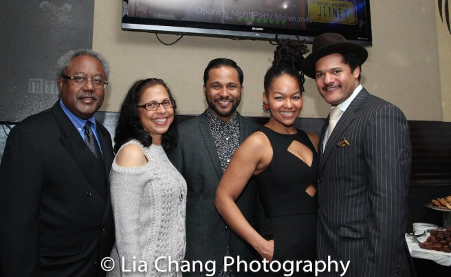 Willie Dirden, Deborah Dirden, Jason Dirden, Crystal Dickinson and Brandon J. Dirden at the opening night party of Broadway's JITNEY on January 19, 2017. Photo by Lia Chang