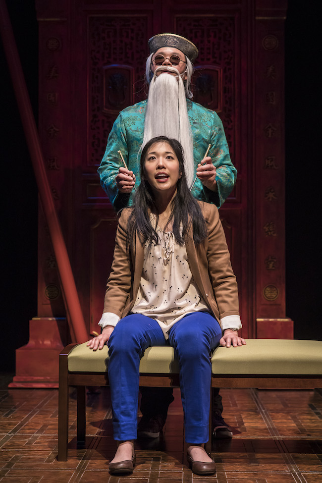 Rammel Chan (Actor 3) and Stephenie Soohyun Park (Lauren) in in Lauren Yee's KING OF THE YEES. Photo by Liz Lauren
