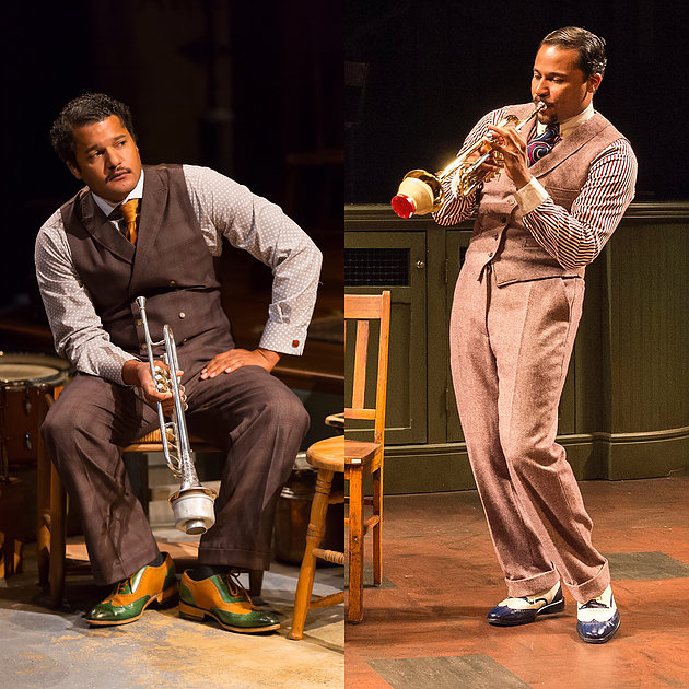 """Brandon J. Dirden plays Levee in the Two River production of August Wilson's """"Ma Rainey's Black Bottom"""" at Two River in Red Bank, N.J. © T. Charles Erickson. Jason Dirden as Levee in the Center Theater Group production in Los Angeles. © Craig Schwartz."""