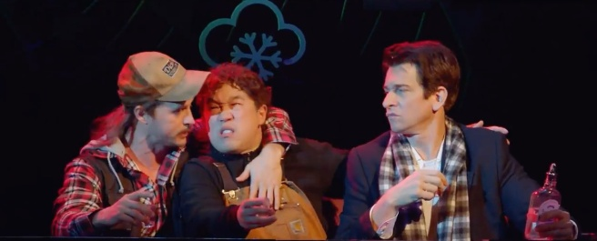 Andrew Call as Gus, Raymond J. Lee as Ralph and Andy Karl as Phil in GROUNDHOG DAY.