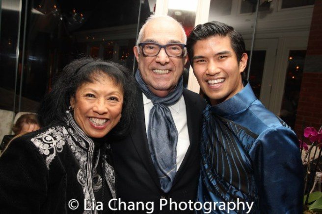 "Baayork Lee, Bob Avian and Christopher Vo at the opening night party at Tavern on the Green for ""Miss Saigon"" on March 23, 2017. Photo by Lia Chang"
