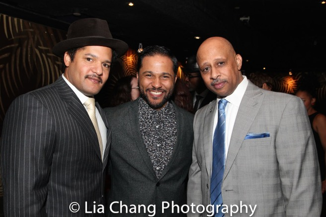 Brandon J. Dirden, Jason Dirden and Ruben Santiago-Hudson at the opening night party of Broadway's JITNEY on January 19, 2017. Photo by Lia Chang