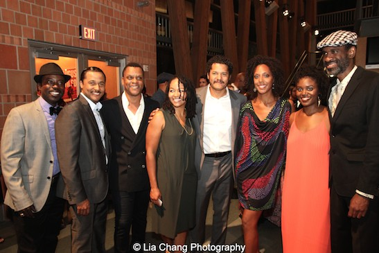 """Charlie Hudson III, Jason Dirden, Kevin Mambo, Crystal Dickinson, Brandon J. Dirden, Christina Acosta Robinson, Brittany Bellizeare, Brian D. Coats at the opening night of Two River Theater's """"Seven Guitars,"""" directed by Brandon J. Dirden on September 18, 2015. Photo by Lia Chang"""