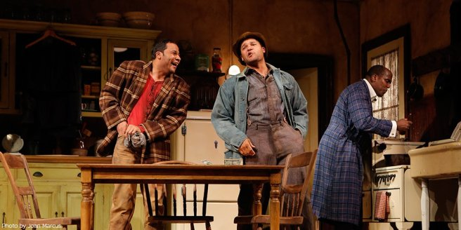 """Jason Dirden, Brandon J. Dirden, James A. Williams in Signature's revival of August Wilson's """"The Piano Lesson,"""" directed by Ruben Santiago-Hudson in 2012. Photo by Joan Marcus"""