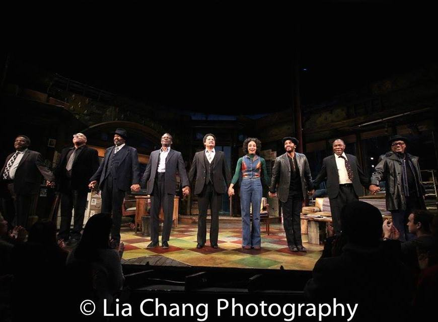 Ray Anthony Thomas, Keith Randolph Smith, Anthony Chisholm, John Douglas Thompson, Brandon J. Dirden, Carra Patterson, André Holland, Michael Potts, Harvy Blanks at the closing night curtain call of August Wilson's JITNEY at MTC's Samuel J. Friedman Theatre on March 12, 2017. Photo by Lia Chang
