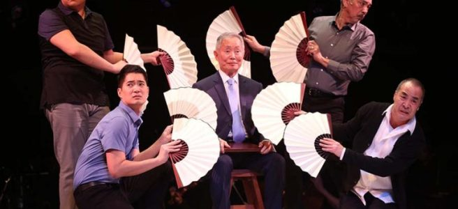 """Kelvin Moon Loh, Austin Ku, George Takei, Marc Oka, and Thom Sesma in """"Pacific Overtures"""" at Classic Stage Company. Photo by Joan Marcus"""
