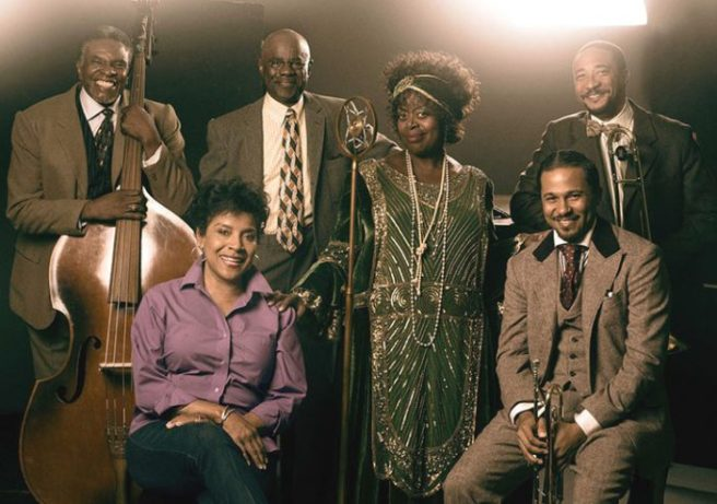 """Cast member Keith David, director Phylicia Rashad and cast members Glynn Turman, Lillias White, Jason Dirden and Damon Gupton from August Wilson''s """"""""Ma Rainey's Black Bottom,"""" at Center Theatre Group/Mark Taper Forum at the Los Angeles Music Center. Photo by Luke Fontana."""