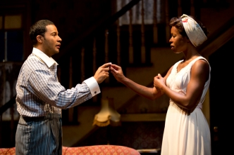 """Jason Dirden and Roslyn Ruff in in Signature's revival of August Wilson's """"The Piano Lesson,"""" directed by Ruben Santiago-Hudson. Photo by Joan Marcus"""