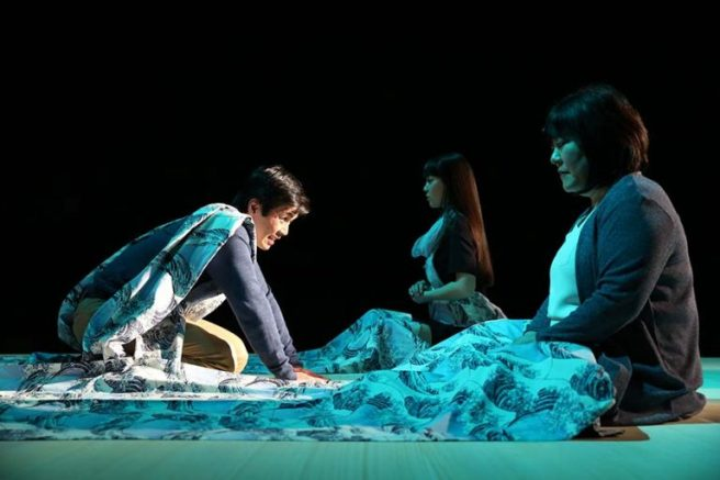 "Steven Eng, Megan Masako Haley, and Ann Harada in ""Pacific Overtures"" at Classic Stage Company. Photo by Joan Marcus"