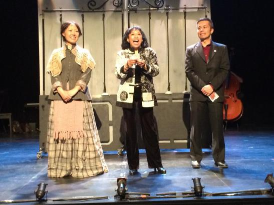 Nina Zoie Lam, Baayork Lee and Steven Eng, the founders of NAAP, onstage before the performance of Oliver! at The Romulus Linney Courtyard Theatre 