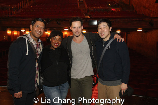 Vishal Vaidya, Rheaume Crenshaw, Andrew Call and Ray Lee backstage at GROUNDHOG DAY at the August Wilson Theatre in New York on April 5, 2017. Photo by Lia Chang