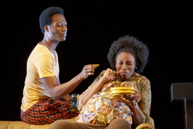Hubert Point-Du Jour and Chinasa Ogbuagu star in Mfoniso Udofia's Sojourners, directed by Ed Sylvanus Iskandar, at New York Theatre Workshop. (© Joan Marcus)