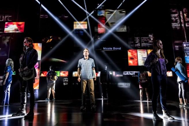 Ben Platt (center) and members of the cast of Dear Evan Hansen Photo by: Matthew Murphy