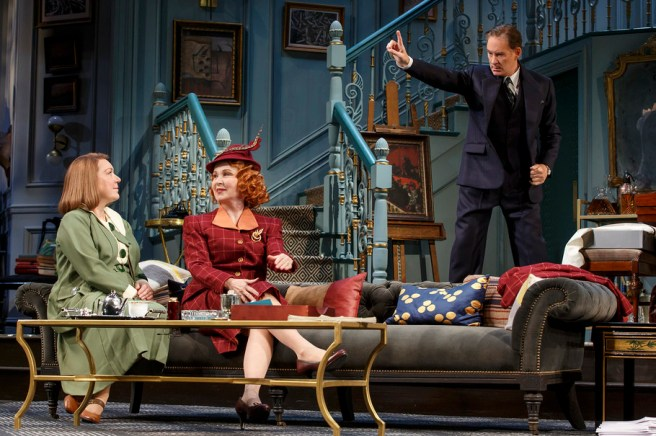 Kristine Nielsen (left), Kate Burton, and Kevin Kline in Present Laughter by Noël Coward. Photo by: ©2016 Joan Marcus