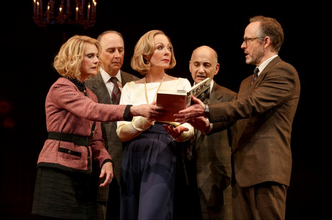 Lisa Emery, Michael Countryman, Allison Janney, Ned Eisenberg and John Benjamin Hickey (l. to r.) in John Guare's Six Degrees of Separation. Photo by: ©2017 Joan Marcus
