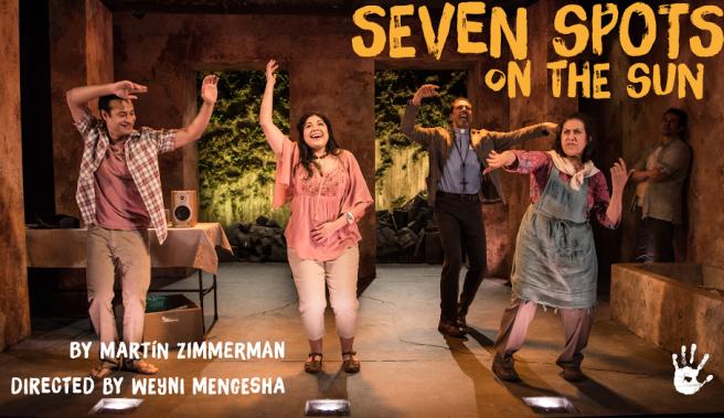 Cesar Rosado, Claudia Acosta, Peter Jay Fernandez, Socorro Santiago and Rey Lucas in Martin Zimmerman's 'Seven Spots on the Sun'. Photo by Russ Rowland