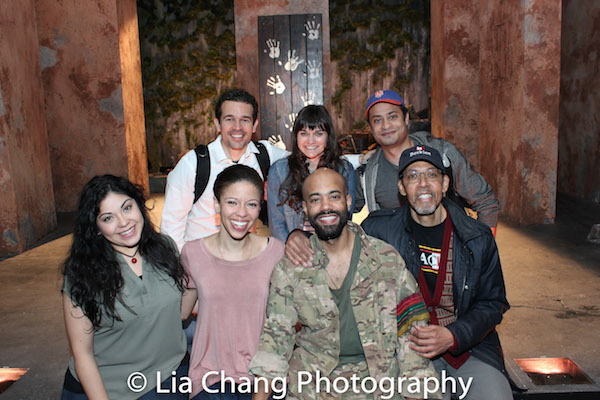 "Claudia Acosta, Flor De Liz Perez, Sean Carvajal, Peter Jay Fernandez, Rey Lucas, Flora Diaz and Cesar J. Rosado on the set of Martin Zimmerman's 'Seven Spots On the Sun"" at Rattlestick Playwrights Theatre. Photo by Lia Chang"