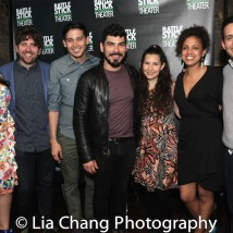 Claudia Acosta, Playwright Martin Zimmerman, David Mendizábal, Sol Honorary Board member Raúl Castillo, Adriana Gaviria, Director Weyni Mengesha and Jacob Padrón. Photo by Lia Chang