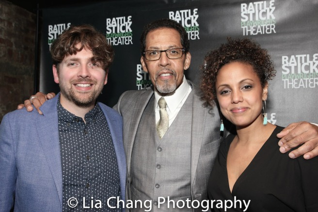 Playwright Martin Zimmerman, Peter Jay Fernandez and director Weyni Mengesha. Photo by Lia Chang
