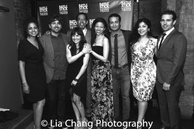 Director Weyni Mengesha, Playwright Martin Zimmerman, Flora Diaz, Peter Jay Fernandez, Flora De Liz Perez, Cesar Rosado, Claudia Acosta and Rey Lucas. Photo by Lia Chang