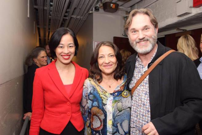 Lia Chang with Georgiana and Richard Thomas backstage at Manhattan Theatre Club's THE LITTLE FOXES at the Samuel J. Friedman Theatre in New York. Photo by Garth Kravits