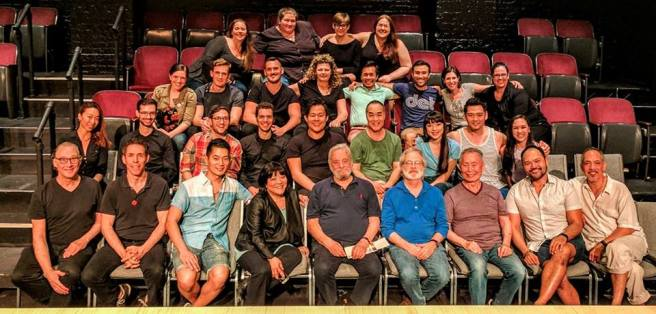 CSC's PACIFIC OVERTURES family photo with Stephen Sondheim and John Weidman. Photo courtesy of Facebook