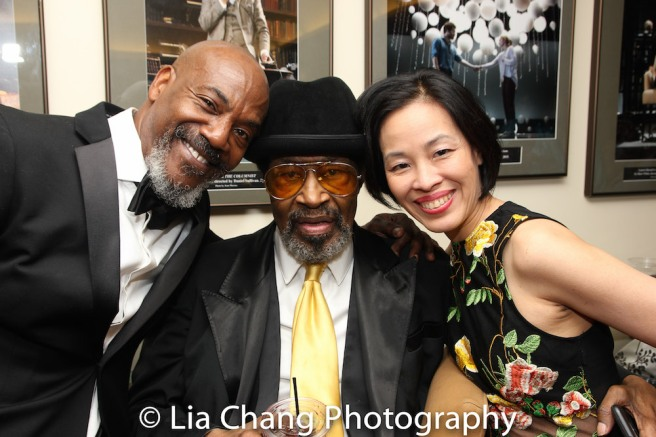 John Earl Jelks, Anthony Chisholm and Lia Chang at Manhattan Theatre Club's Tony Awards Party at the Samuel J. Friedman Theatre on June 11, 2017. Photo by Garth Kravits