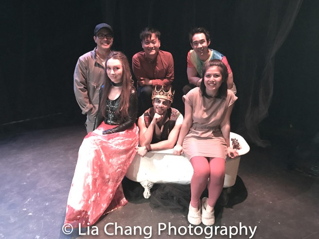 1st row: Meilin Gray, Gerardo Pelati and Carolina Do; 2nd row: Edgar Eguia, Director Chongren Fan, Roger Yeh on the set of Frances Ya-Chu Cowhig's 410[GONE] at Theater for the New City in New York on June 7, 2017. Photo by Lia Chang