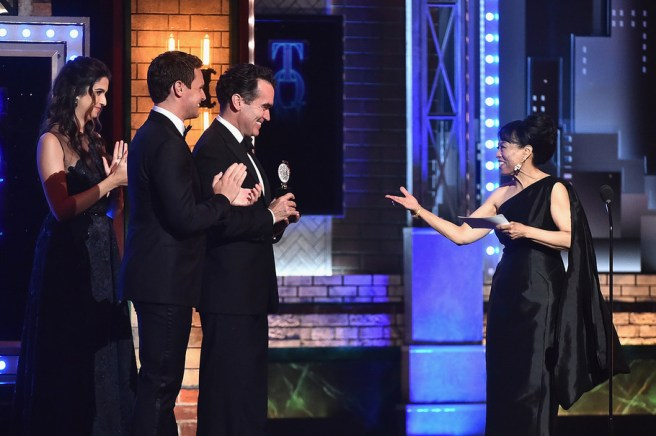 NEW YORK, NY - JUNE 11: Jonathan Groff and Brian d'Arcy James present Baayork Lee with the Isabelle Stevenson Award award onstage during the 2017 Tony Awards at Radio City Music Hall on June 11, 2017 in New York City. (Photo by Theo Wargo/Getty Images for Tony Awards Productions)